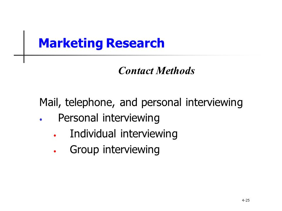 Marketing Research Contact Methods