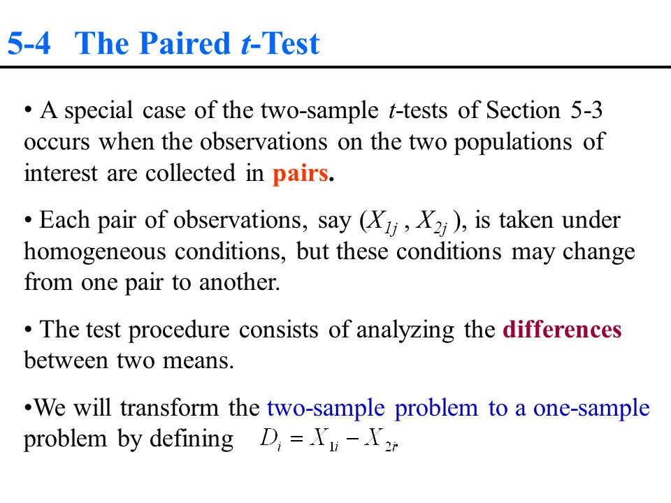 5-4 The Paired t-Test