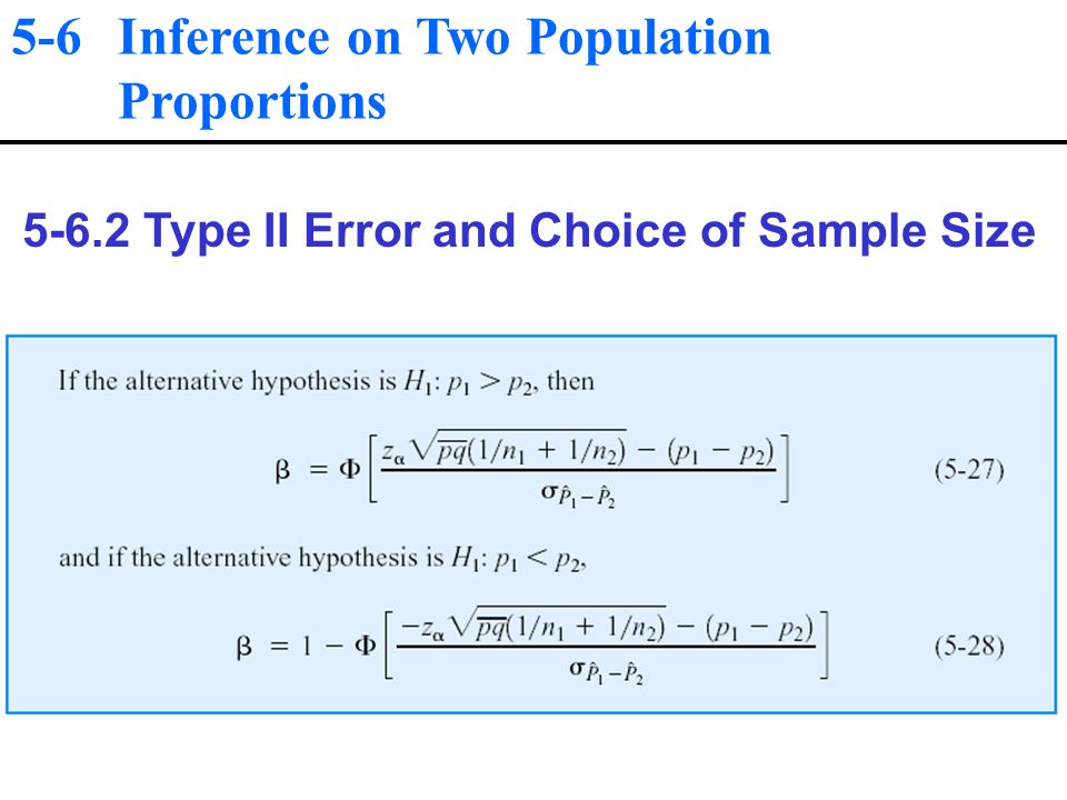 5-6 Inference on Two Population Proportions