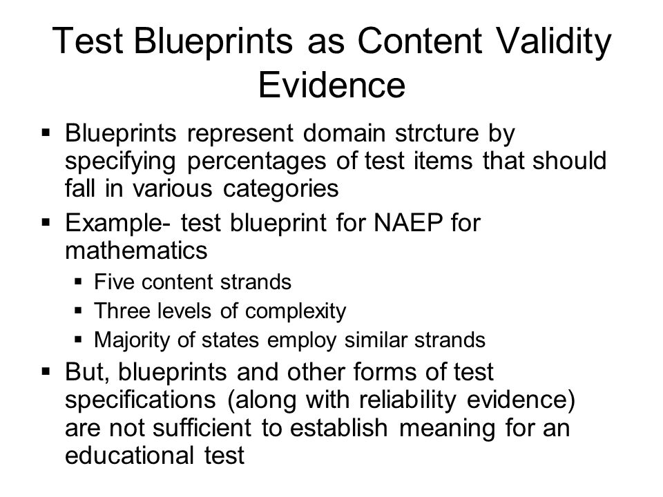 Construct validity a universal validity system ppt download 20 test blueprints malvernweather Images