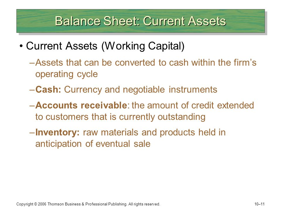 Balance Sheet: Current Assets
