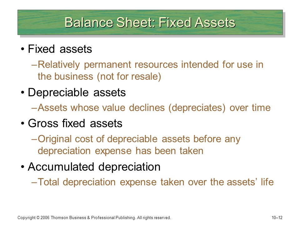 Balance Sheet: Fixed Assets