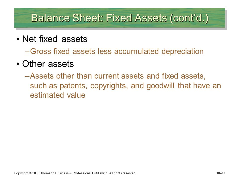 Balance Sheet: Fixed Assets (cont'd.)