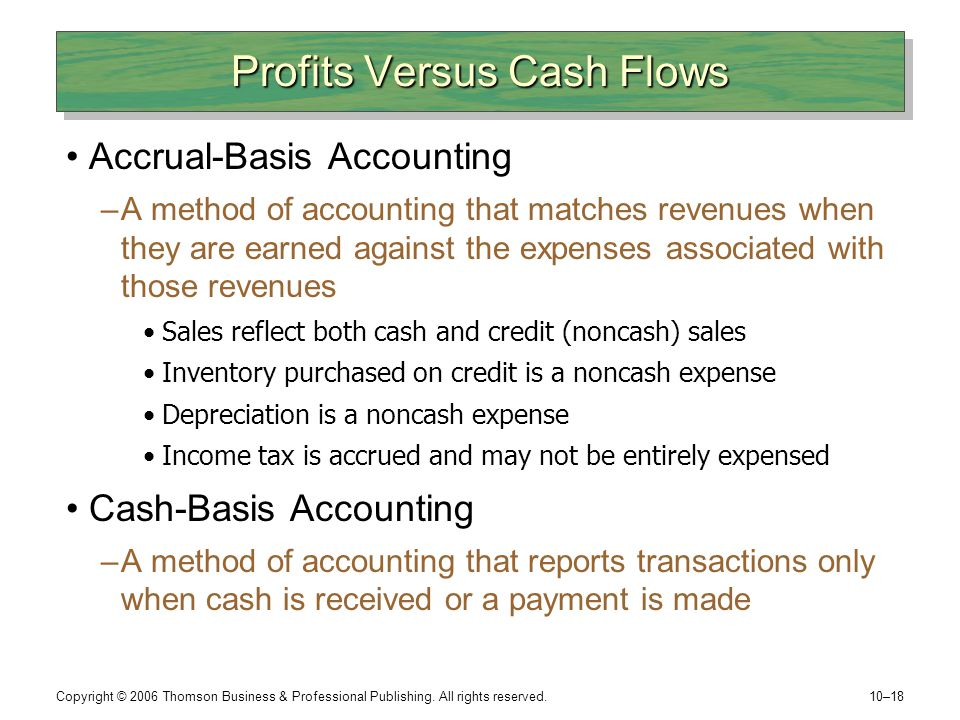 Profits Versus Cash Flows