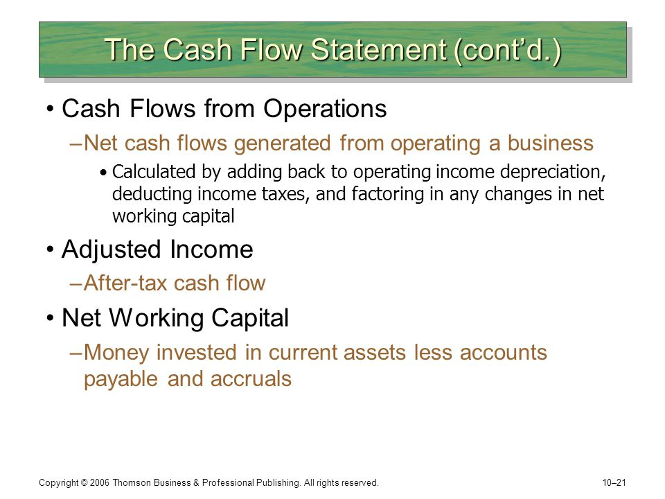 The Cash Flow Statement (cont'd.)