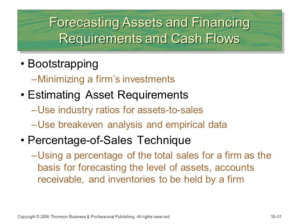 Forecasting Assets and Financing Requirements and Cash Flows