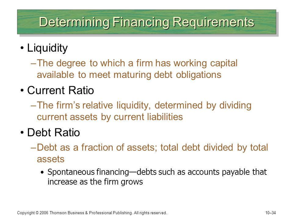 Determining Financing Requirements