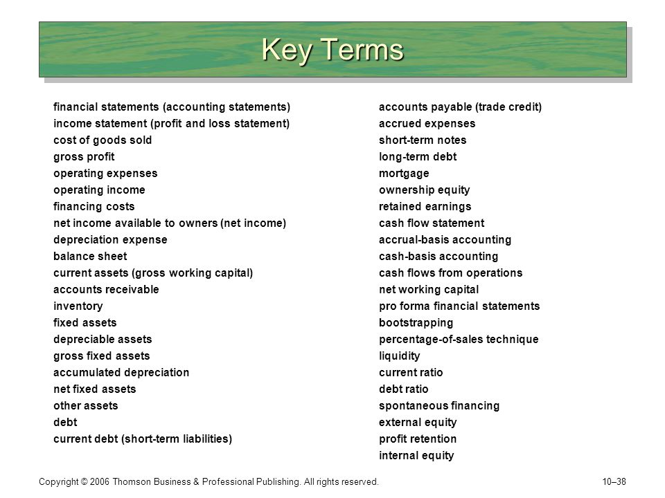 Key Terms financial statements (accounting statements)