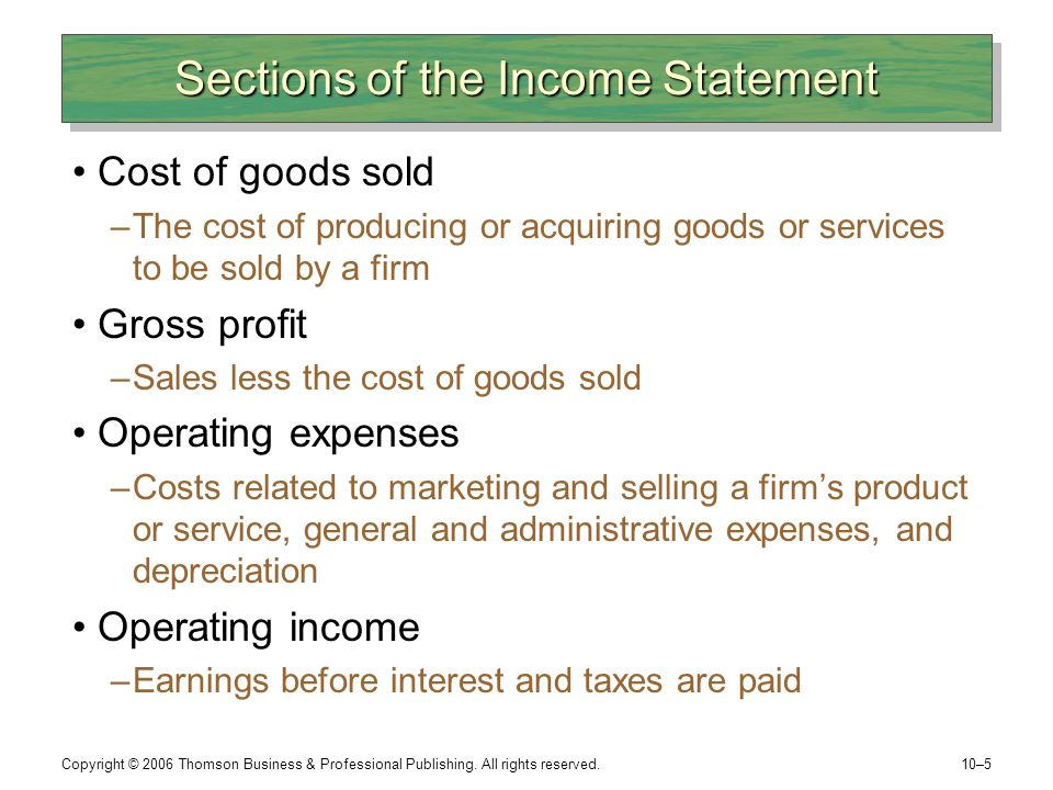 Sections of the Income Statement