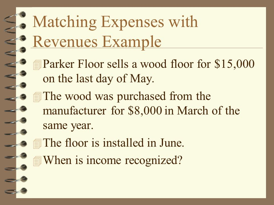 Matching Expenses with Revenues Example