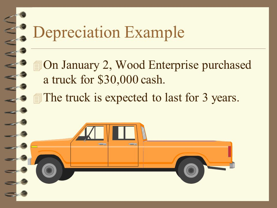 Depreciation Example On January 2, Wood Enterprise purchased a truck for $30,000 cash.