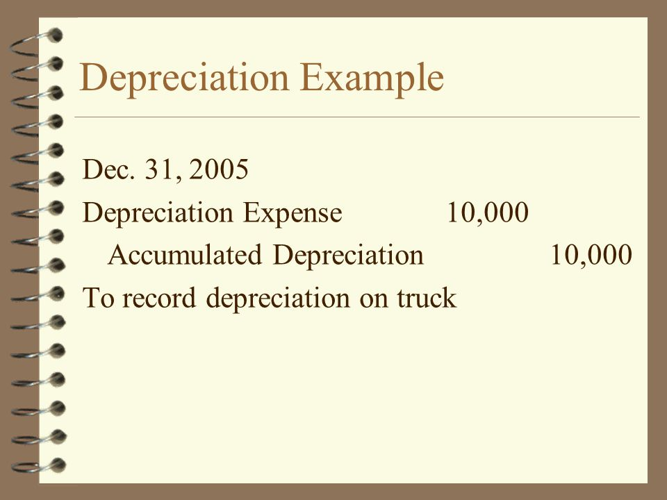 Depreciation Example Dec. 31, 2005 Depreciation Expense 10,000