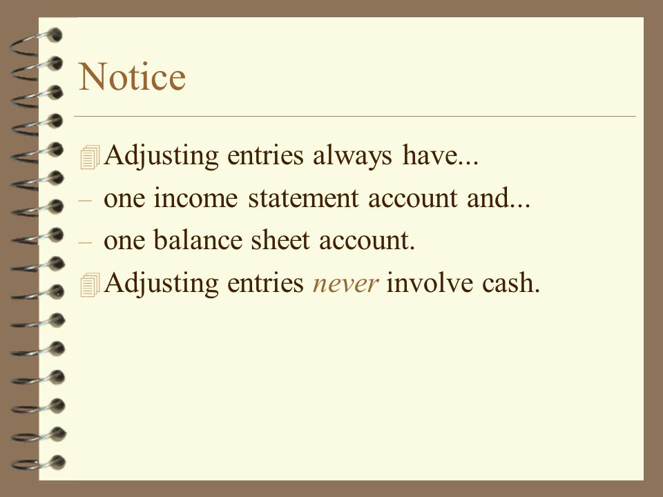 Notice Adjusting entries always have...