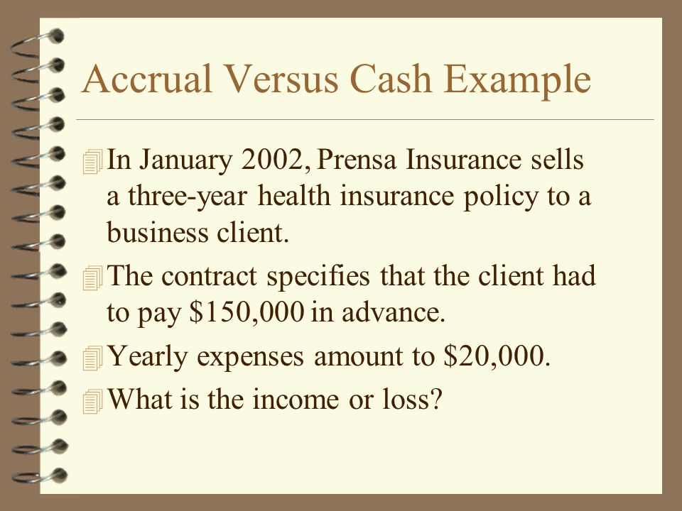 Accrual Versus Cash Example