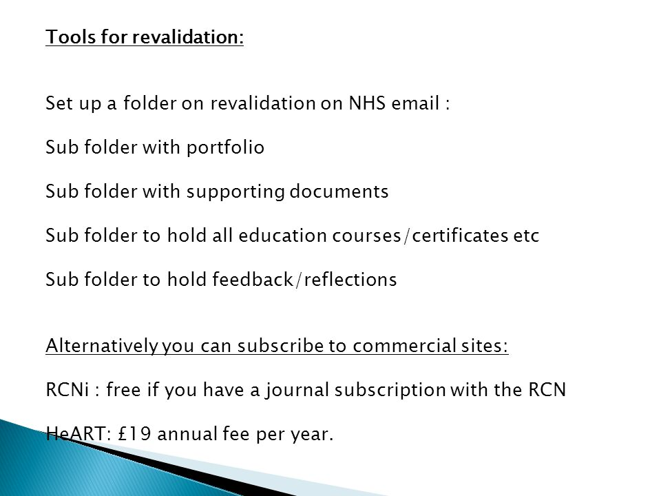 Tools for revalidation: