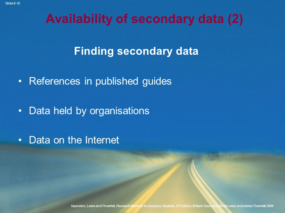 Availability of secondary data (2)