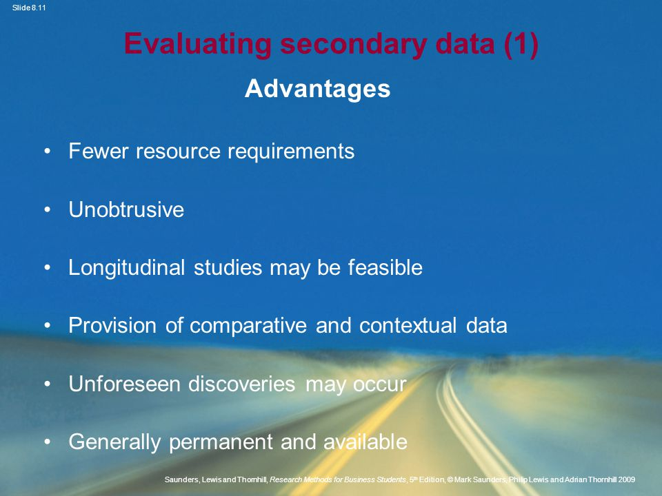Evaluating secondary data (1)