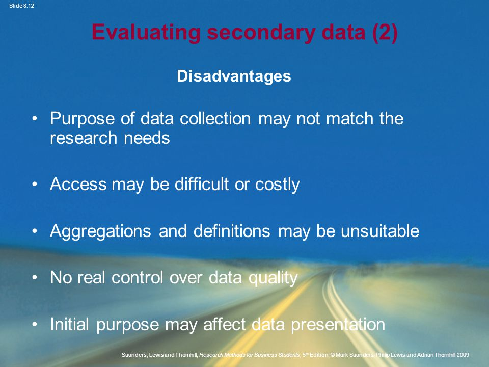 Evaluating secondary data (2)