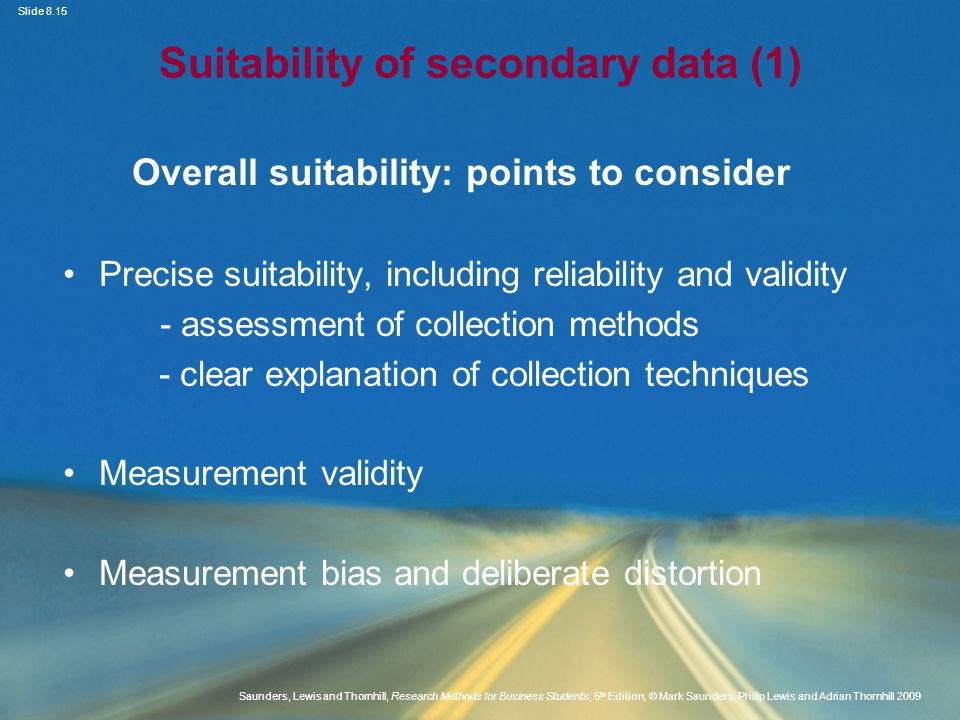 Suitability of secondary data (1)