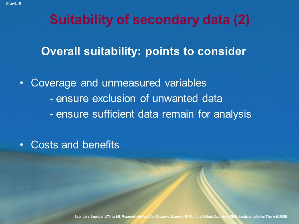 Suitability of secondary data (2)