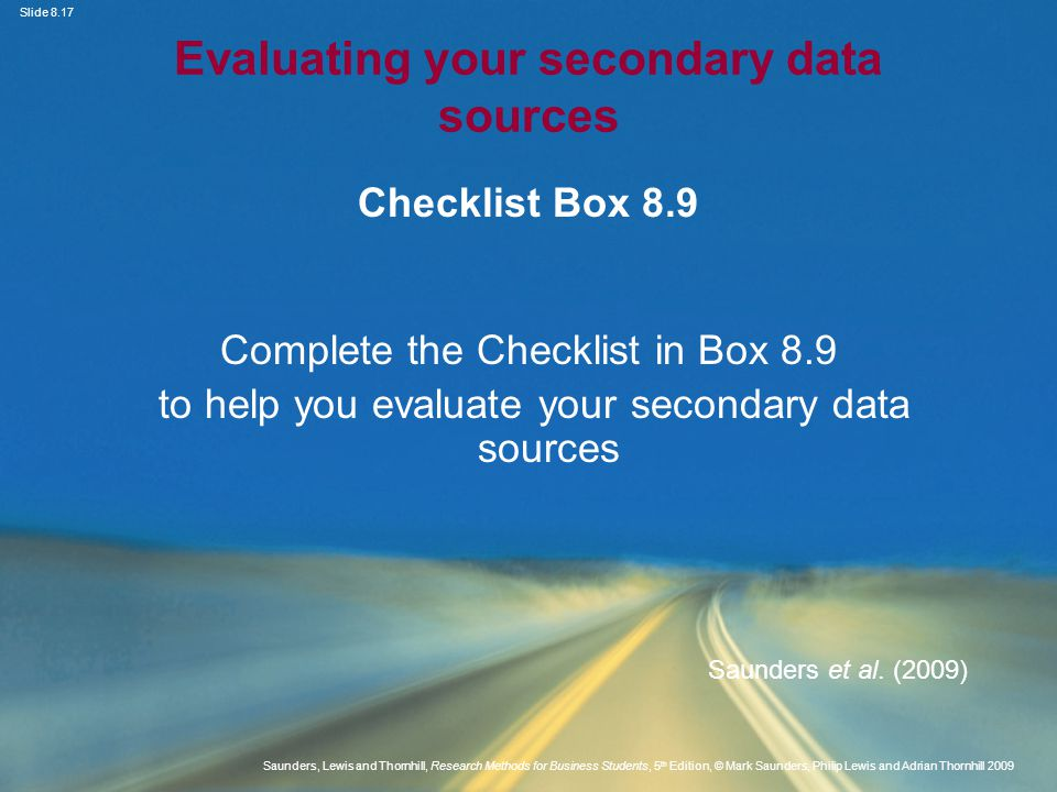 Evaluating your secondary data sources