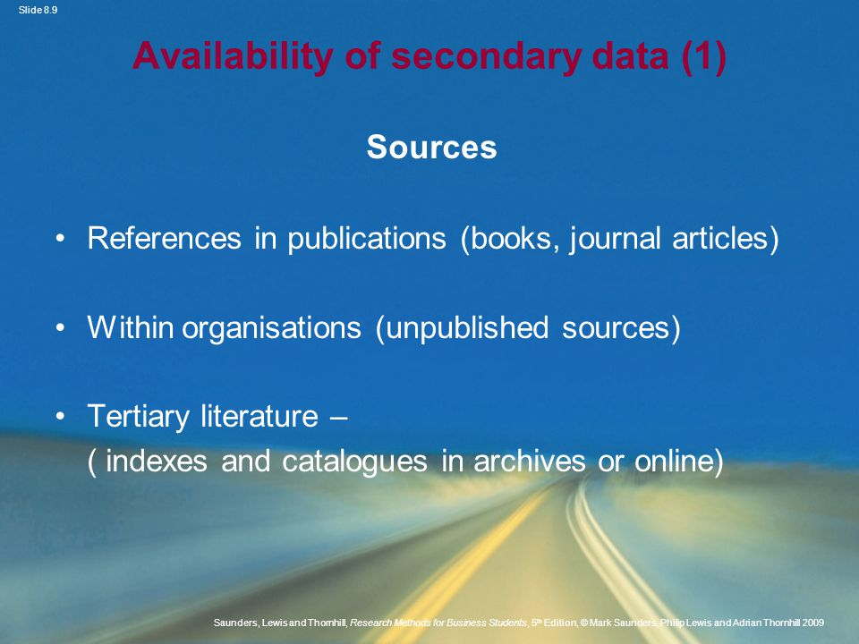 Availability of secondary data (1)