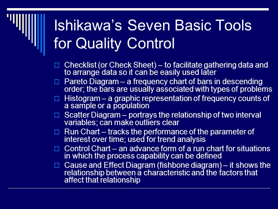 applying the seven basic quality tools in software development ppt