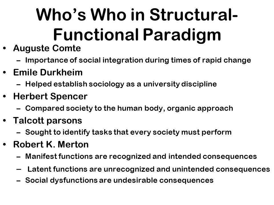Who's Who in Structural-Functional Paradigm