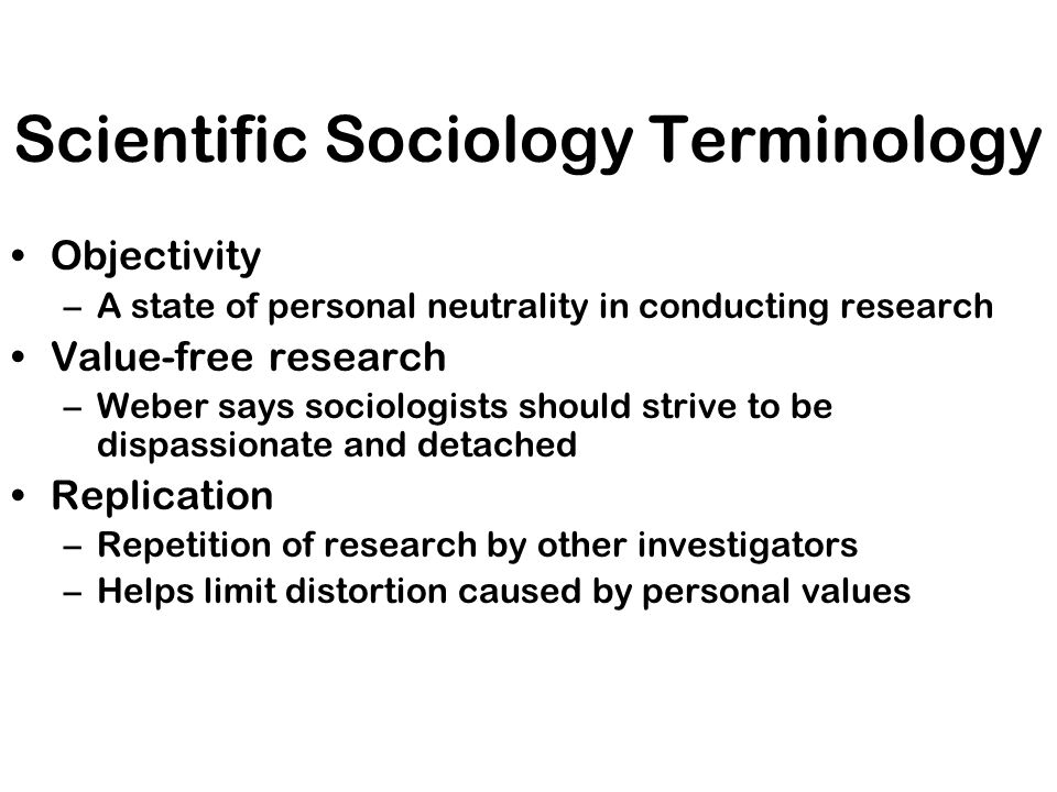 Scientific Sociology Terminology