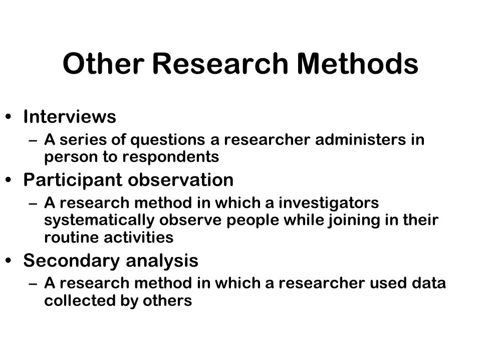 Other Research Methods