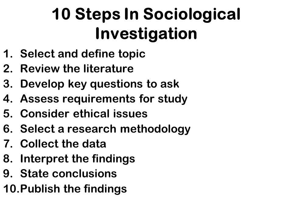 10 Steps In Sociological Investigation