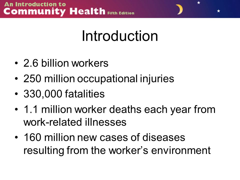 Introduction 2.6 billion workers 250 million occupational injuries