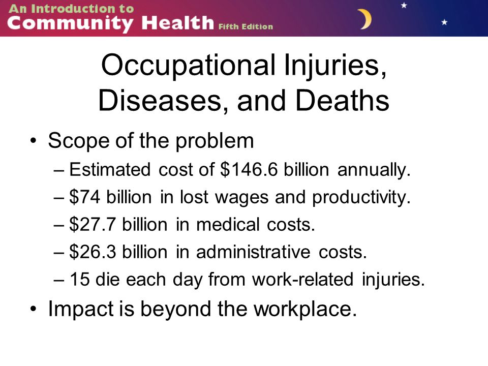 Occupational Injuries, Diseases, and Deaths