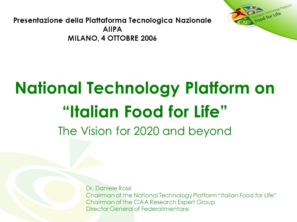 National Technology Platform on Italian Food for Life