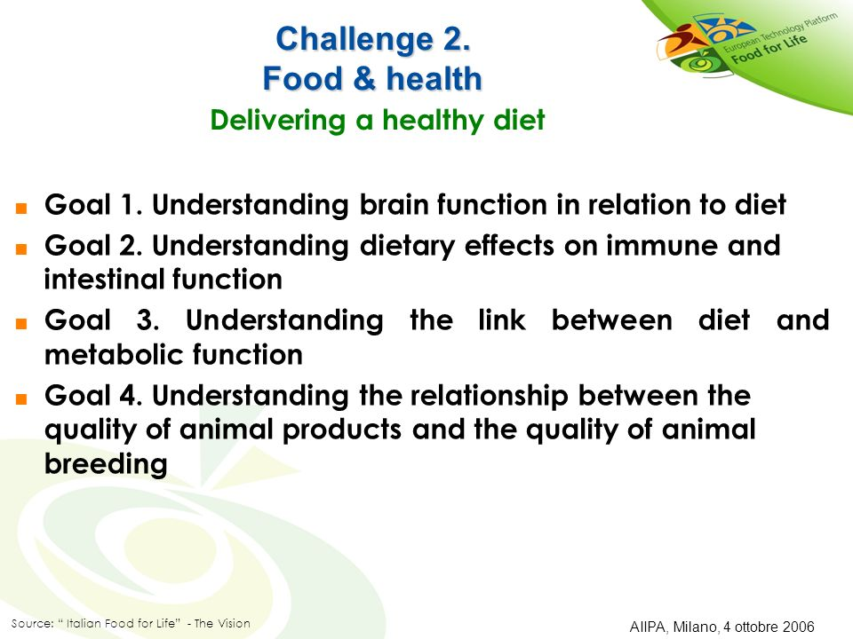 Challenge 2. Food & health Delivering a healthy diet