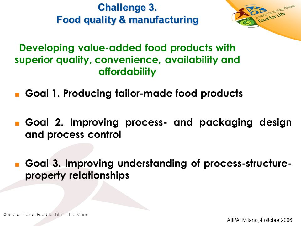 Challenge 3. Food quality & manufacturing Developing value-added food products with superior quality, convenience, availability and affordability