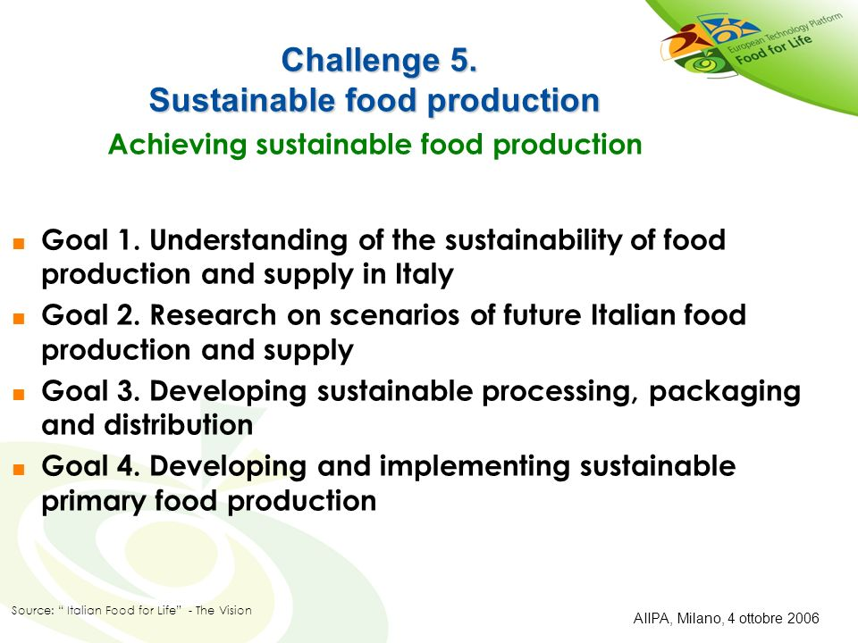 Challenge 5. Sustainable food production Achieving sustainable food production