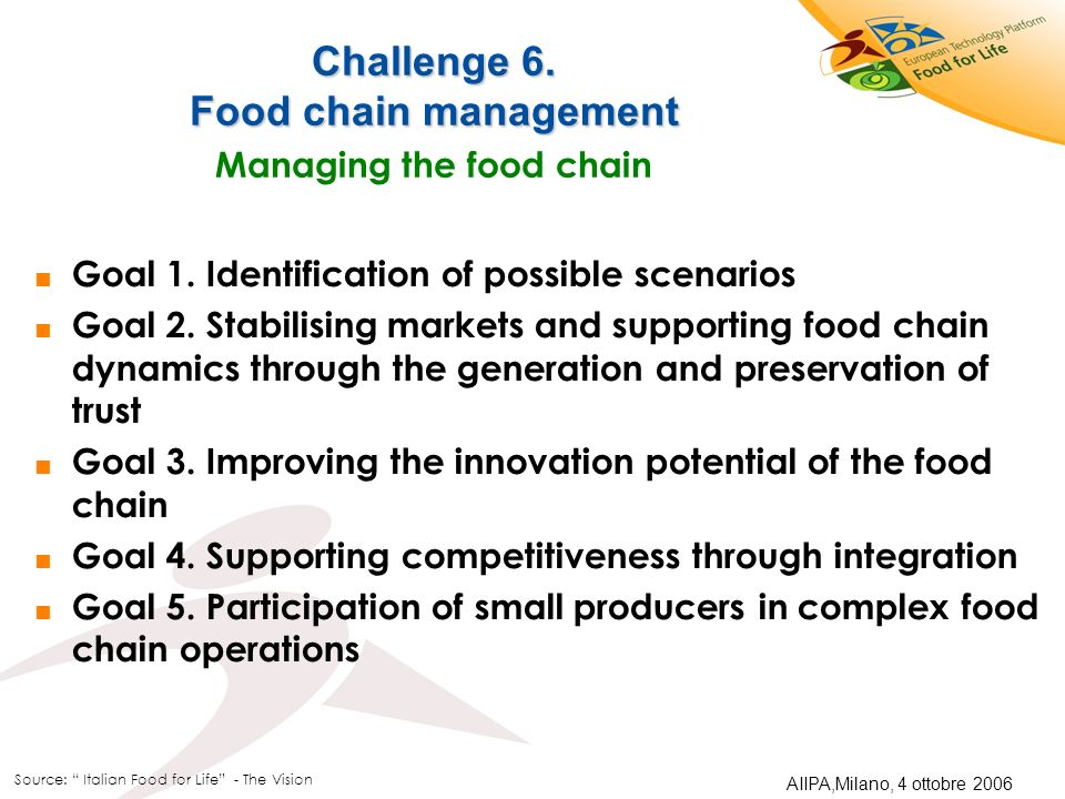 Challenge 6. Food chain management Managing the food chain