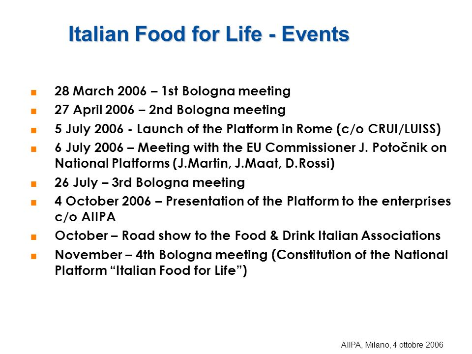 Italian Food for Life - Events