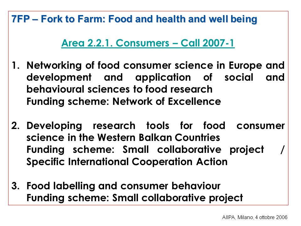 7FP – Fork to Farm: Food and health and well being