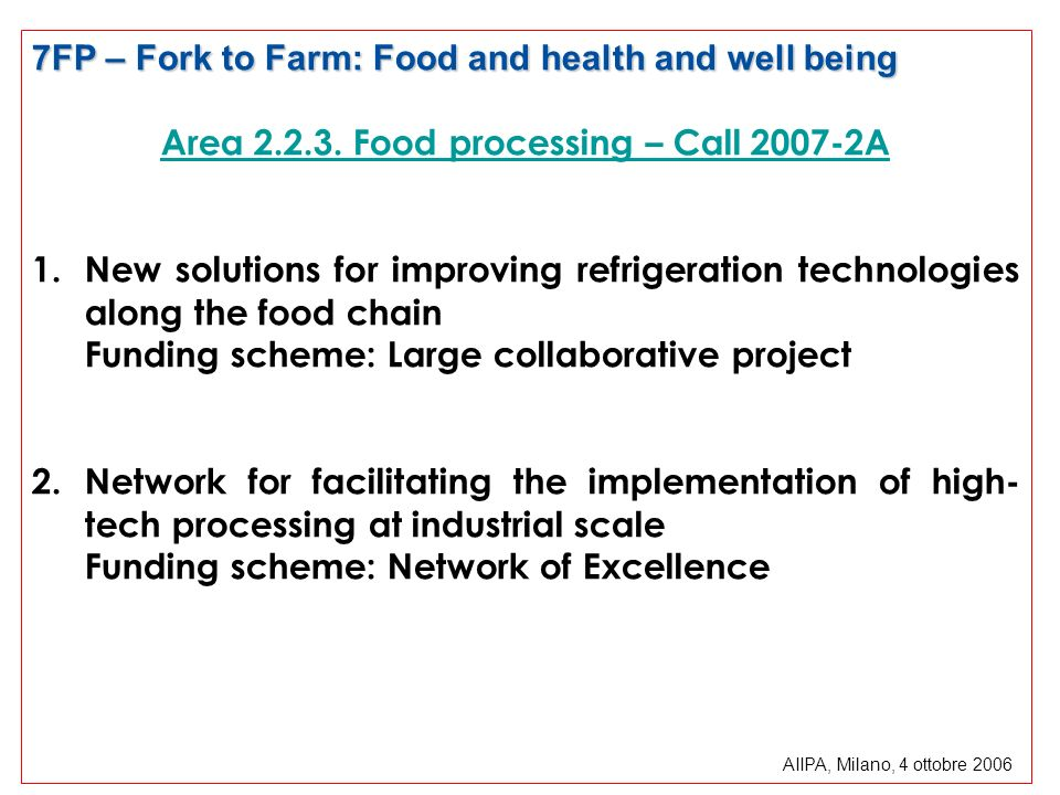 Area 2.2.3. Food processing – Call 2007-2A