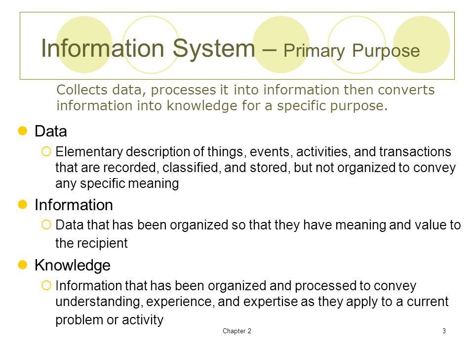 Information System – Primary Purpose