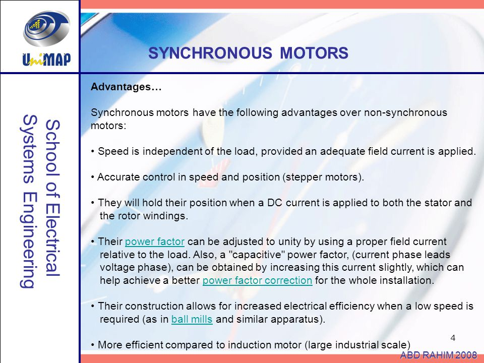 Systems Engineering School of Electrical SYNCHRONOUS MOTORS