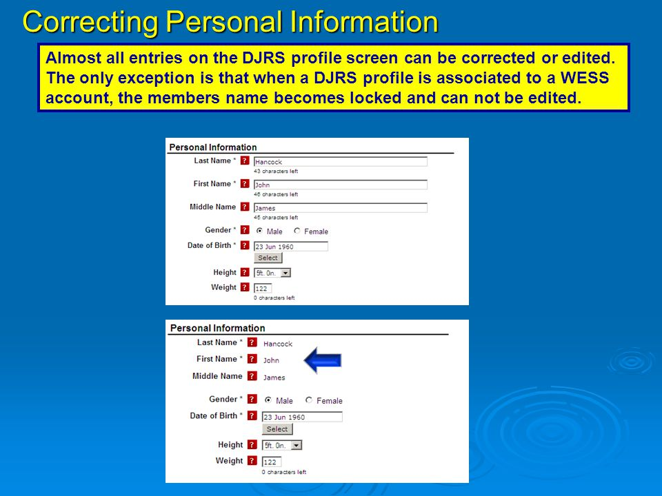 Correcting Personal Information