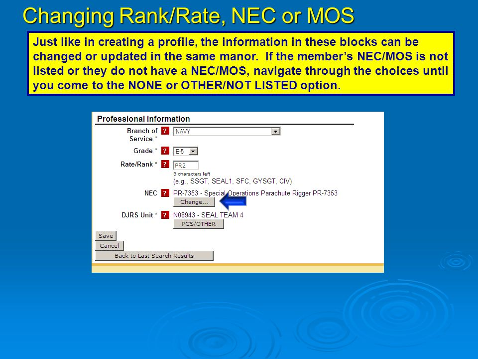 Changing Rank/Rate, NEC or MOS