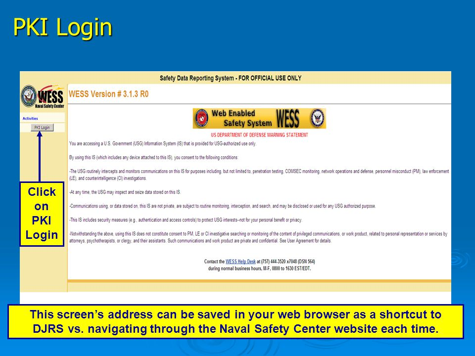 PKI Login Click on PKI Login
