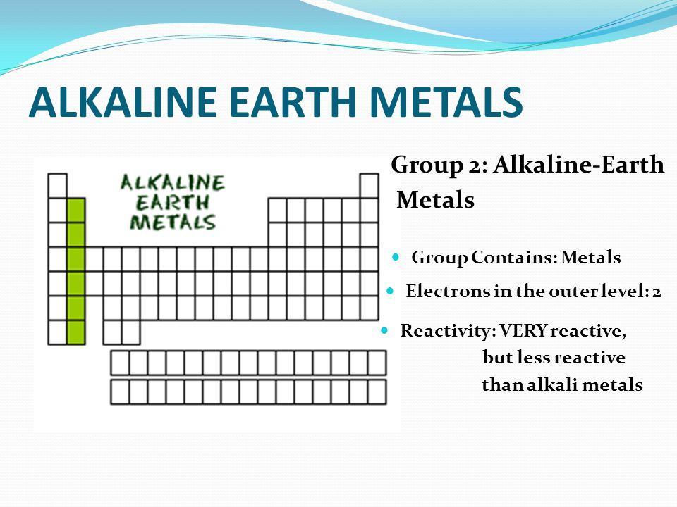 Families on the periodic table ppt download 5 alkaline earth metals group 2 urtaz Gallery