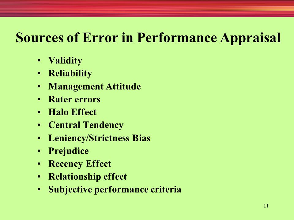 Sources of Error in Performance Appraisal