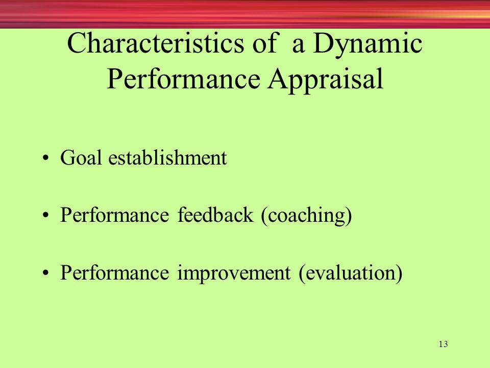 Characteristics of a Dynamic Performance Appraisal
