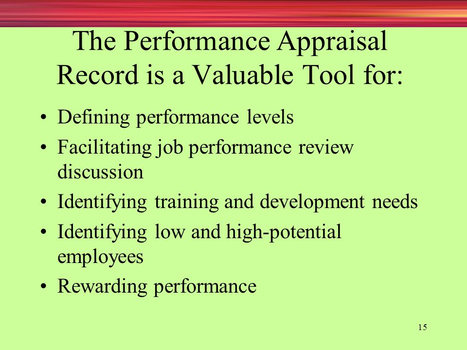 The Performance Appraisal Record is a Valuable Tool for: